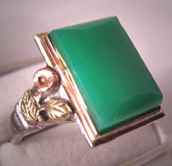 Antique chrysoprase ring vintage art deco rose gold 1930 for Deco maison rose gold