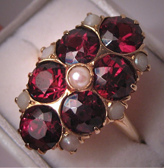 Antique Garnet Pearl Ring Victorian Deco Vintage 14K