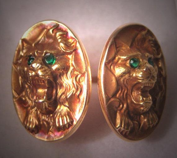 Antique Gold Cufflinks Vintage Art Nouveau Lion Deco