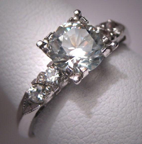 antique white sapphire wedding ring vintage deco