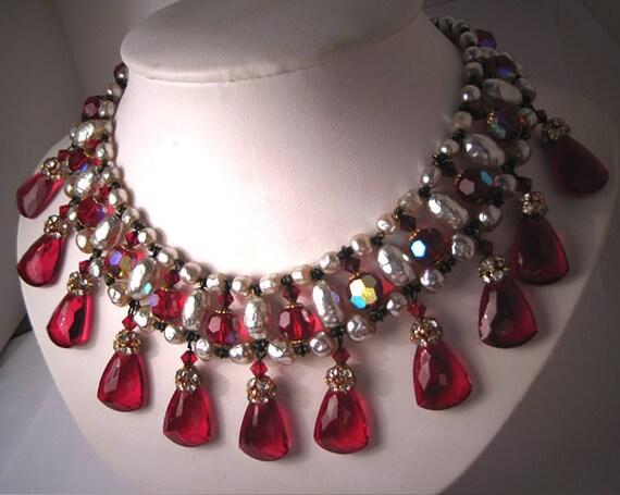 Vintage Pearl Bib Necklace by Robert Haskell Designer