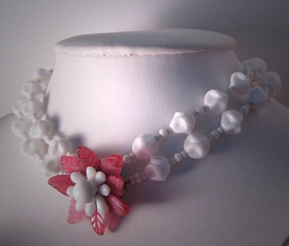 Vintage Miriam Haskell Necklace Designer Jewelry Pink