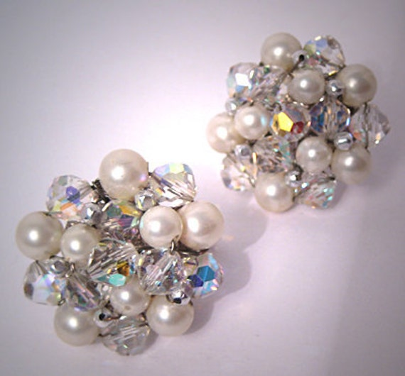 Vintage Vendome Pearl Crystal Earrings Estate Wedding Bridal Jewelry