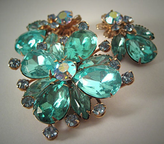 Vintage Rhinestone Pin Earrings Signed Cathe Juliana