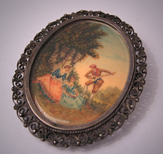 Antique Hand Painted Pendant Necklace Brooch Victorian