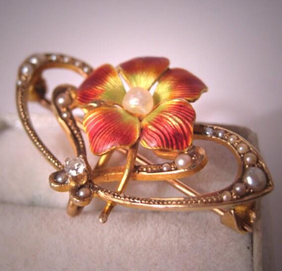 Antique Enameled Diamond Pin Vintage Art Nouveau Watch