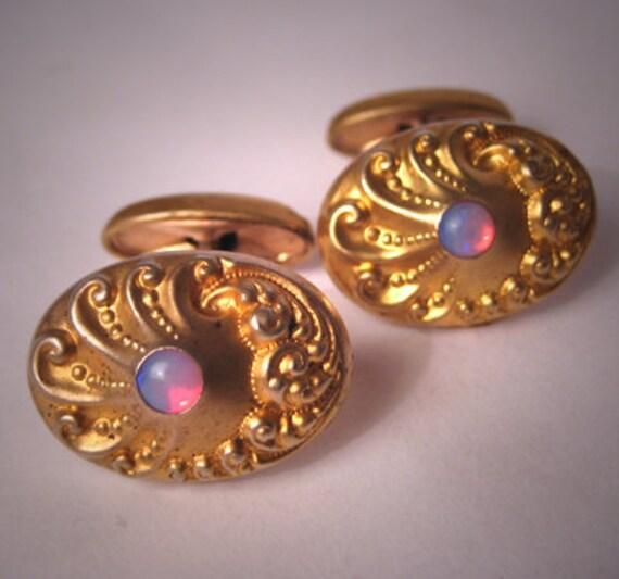 Antique Opalite Gold Cufflinks Vintage Art Nouveau Deco