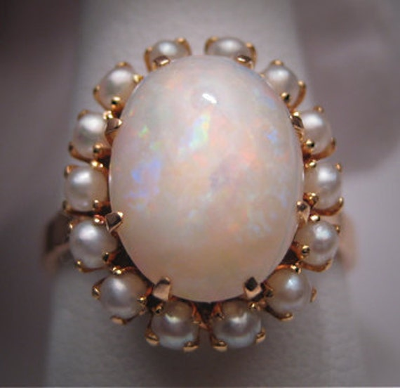 Antique Opal Seed Pearl Ring Vintage Victorian 14k Gold