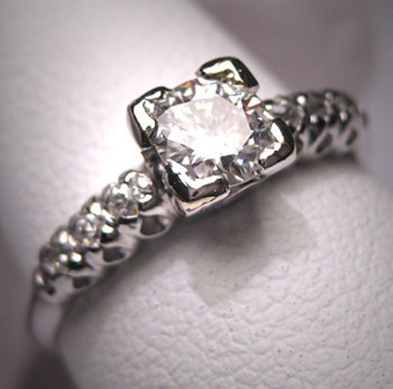 Antique Platinum Diamond Wedding Ring Vintage Art Deco
