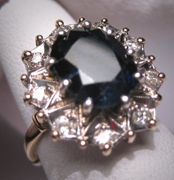 Antique Royal Sapphire Diamond Wedding Ring Vintage