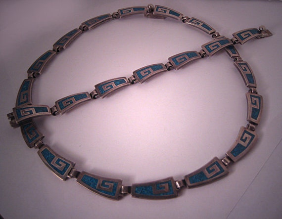 Vintage Taxco Silver Necklace Bracelet Turquoise Inlay Two Piece Set
