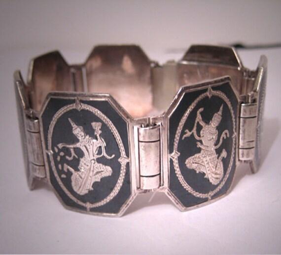 Antique Niello Enameled Silver Bracelet Vintage Siam