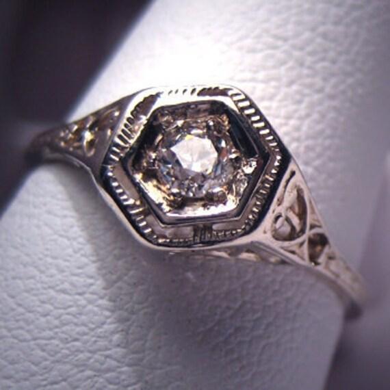 Antique Diamond Wedding Ring Vintage Art Deco White Gld