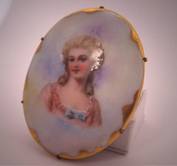Antique Painted Portrait Brooch Victorian Pin 18th Century