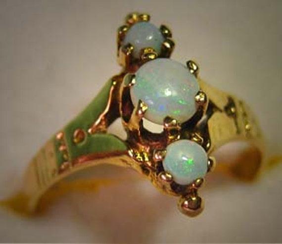 Antique Victorian Australian Opal Wedding Ring 14K Gold Fine Jewelry