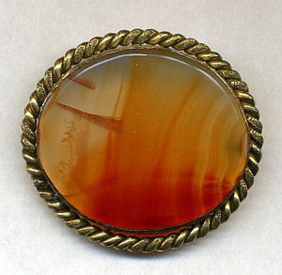 Antique Victorian Agate Brooch Pin Vintage Scottish