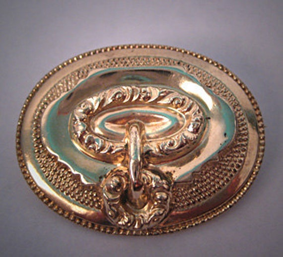Antique Georgian Brooch Gold Repousse Buckle Regency