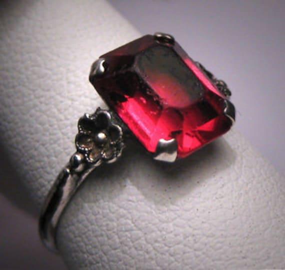 Antique Art Deco Ruby Wedding Ring Vintage Engagement