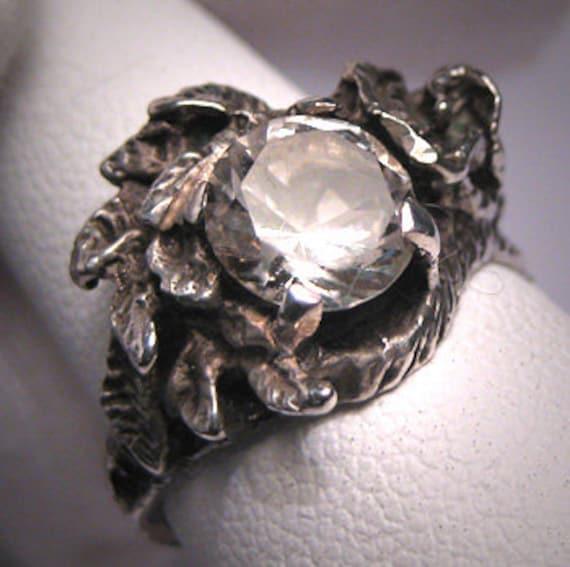 Vintage White Sapphire Wedding Ring Estate Retro Deco