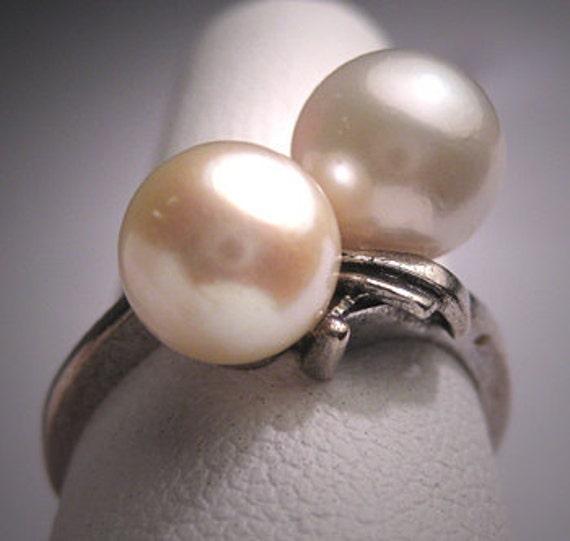 Antique Mikimoto Pearl Ring Vintage Art Deco Akoya 6