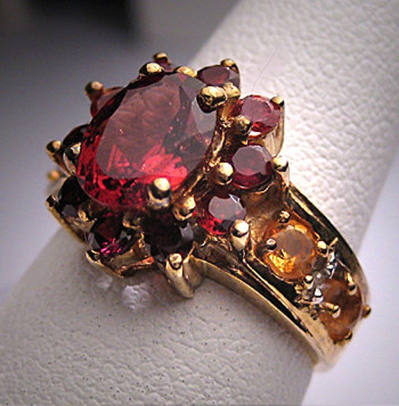 Vintage Estate Garnet Citrine Diamond Ring Estate Jewel