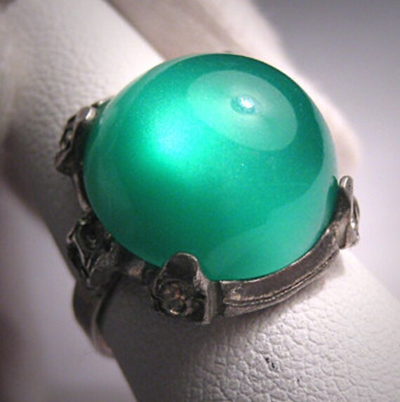 Antique Art Deco Emerald Ring Sterling Silver Vintage