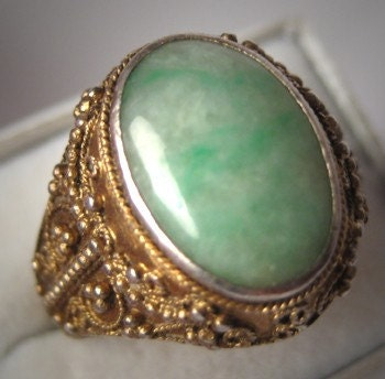 Antique Jade Ring Vintage Etruscan Gold Gilt Jewelry Wedding