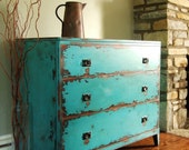 Variety of Antiqued Teal Chests of Drawers