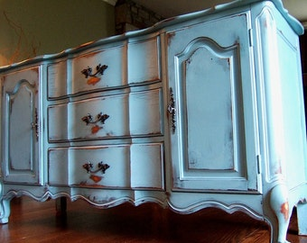 Distressed French Country Buffet in a Antiqued French Blue