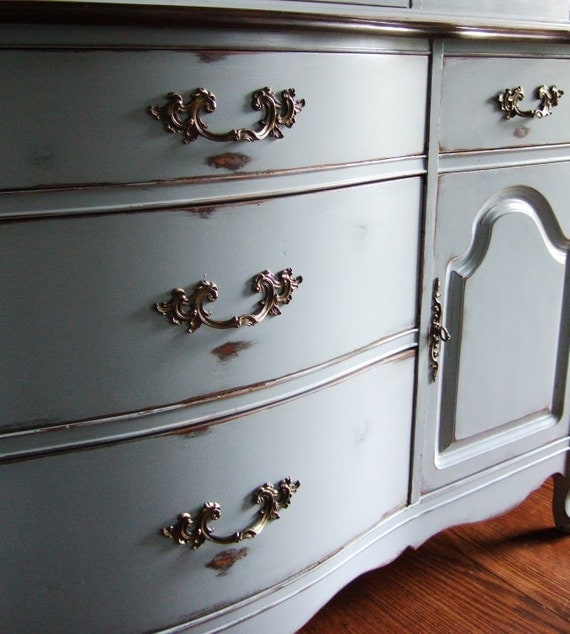 French Country Buffet in a French Grey with Dark Walnut Stained Top