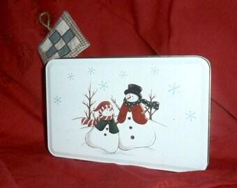 CHOOSE YOUR OWN Gift Tin, White Snowman decorated enamel tin