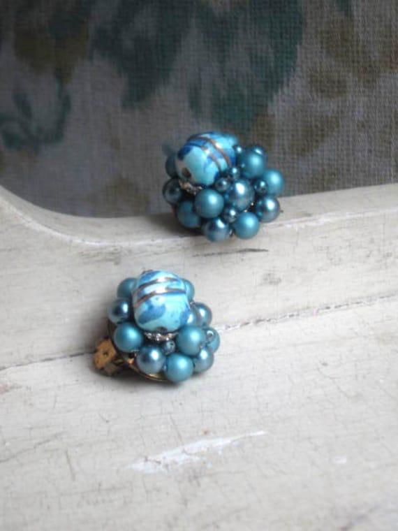 1950s Cluster Earrings - Smoke Blue & Cobalt Swirl Beads
