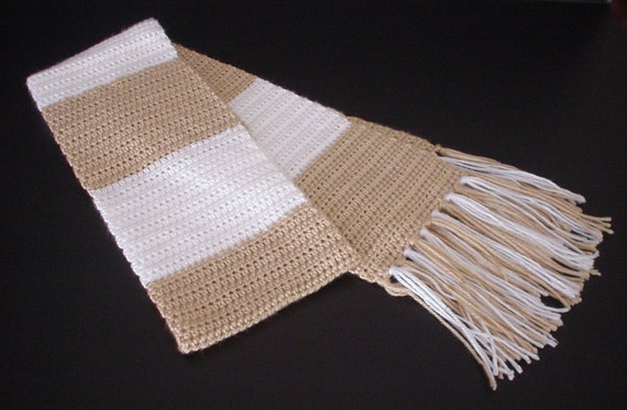 Crochet Scarf Neckwarmer Ladies Scarf Mens Scarf School Colors Scarf, Unisex Scarf, Neutral Colors Scarf Crocheted Scarf Wrap Neckwear