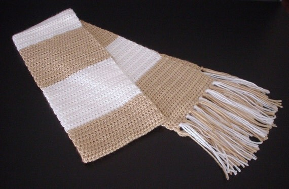 Crochet Scarf, Crochet Neckwarmer, Ladies Scarf, Men's Scarf, School Colors Scarf, Unisex Scarf, Neutral Colors Crochet Scarf