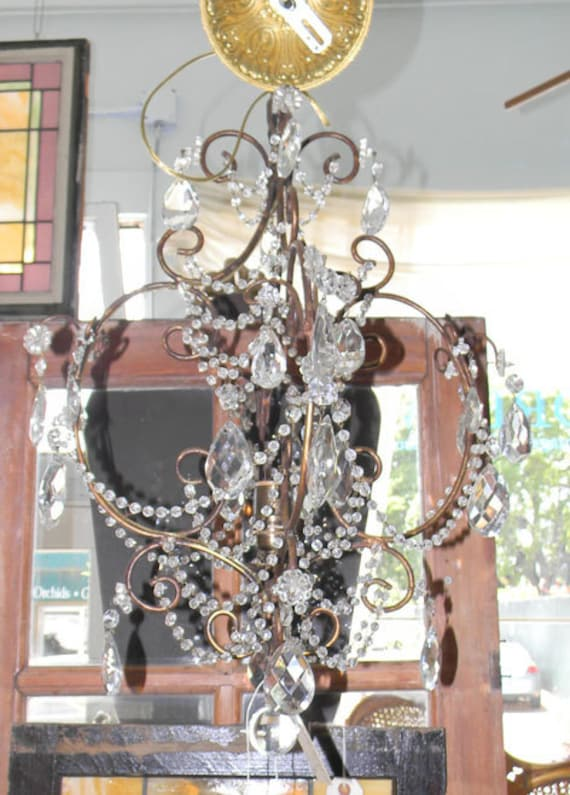 RESERVED-Antique Bronze French Crystal Chandelier