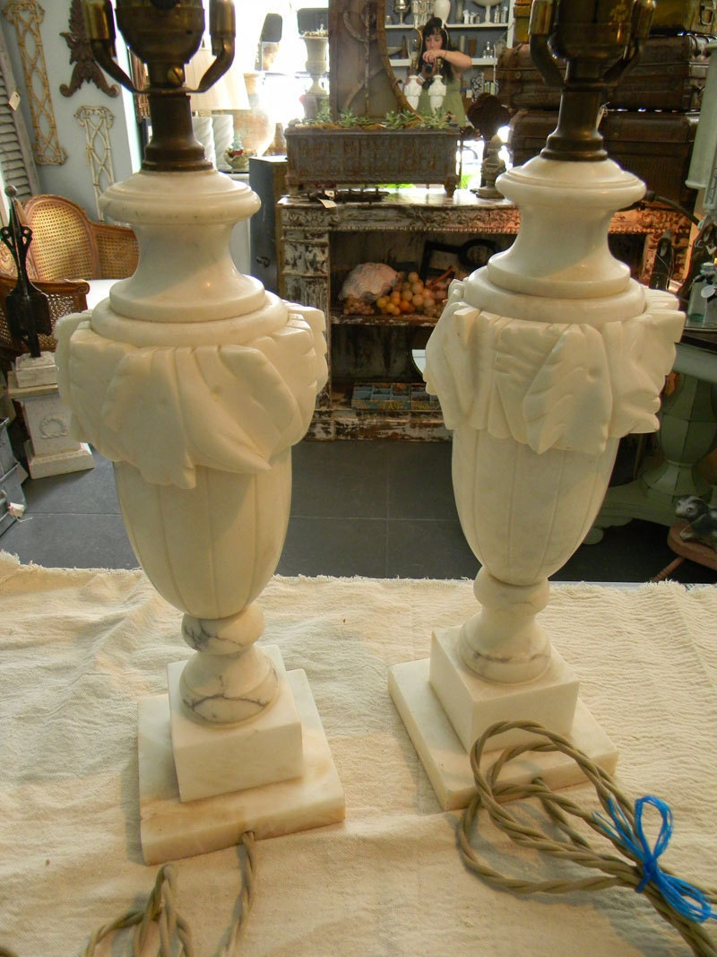 Vintage Pair Of Alabaster Lamps Beautiful Rewired