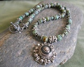 Necklace green turquoise Bali silver so west boho hippie bohemian