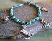 Charm Bracelet - Western - turquoise w fun pewter charms