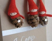 "2"" Tiny Pine Cone Elves -- set of 3 ornaments"