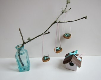 Set of Bird Nest Ornaments - Easter Tree - Spring Decoration - Tabletop Display - Hostess Gift