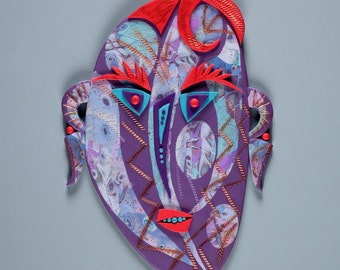 Purple Picasso Shaman Mask Polymer Clay in Blue, Purple, Orange, White Tribal Mask