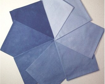 Hand Dyed Cotton - 8 shades of Blue Fat Quarters - item 1152