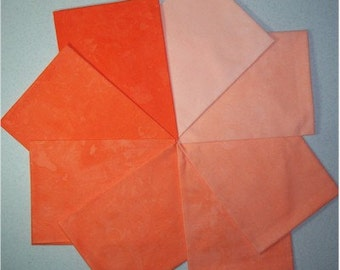 Hand Dyed Cotton - 8 shades of Orange Fat Quarters - item 1153