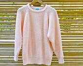 pastel peach vintage oversized chunky knit sweater 80s 90s