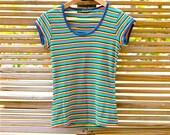 vintage 70s rainbow striped t-shirt
