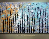 Large Birch Tree Painting Abstract 60x36 Turquoise Wall Decor Heavy Textured Modern Contemporary art Made to Order by OTO