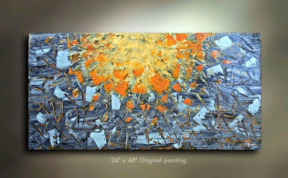 Original Abstract Art painting great color 48x24 Modern Contemporary acrylic Painting by OTO
