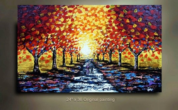 ORIGINAL Abstract Art Landscape Flower Tree painting great color FRee ShiPPiNG 36x24 Modern Contemporary acrylic Painting by OTO