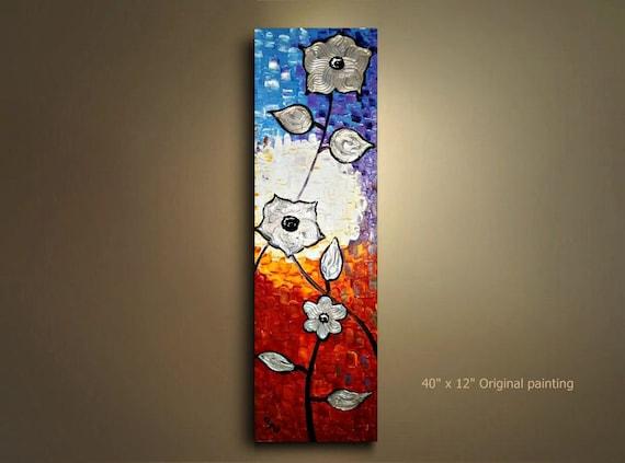 Original abstract silver burnt orange purple light blue flower Light burnt orange paint