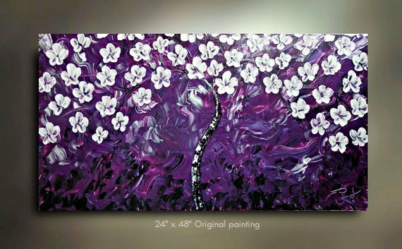 ORIGINAL White Purple Daisy Flower Painting Abstract Landscape Artwork Flowerscape Heavy Textured 48x24 Modern Contemporary art by OTO